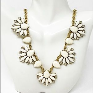 J. Crew White Oval Resin Stone Statement Necklace